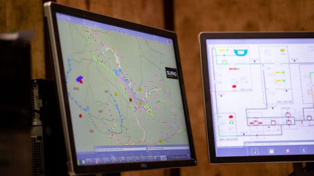 Ecrans de contrôle du logiciel SUFAG pour la production de neige de culture et d'électricité